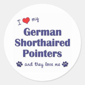 Jag älskar min tyska Shorthaired pekare (mång- Runt Klistermärke