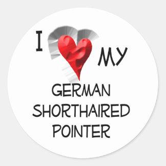 Jag älskar min tyska Shorthaired pekare Runt Klistermärke