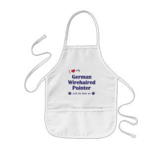 Jag älskar min tyska Wirehaired pekare (den kvinnl Barnförkläde