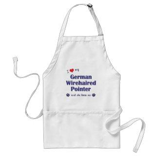 Jag älskar min tyska Wirehaired pekare (den kvinnl Förkläde