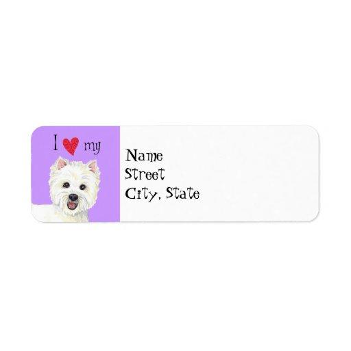 Jag älskar min Westie Returadress Etikett