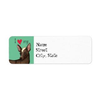 Jag älskar min Xoloitzcuintli Returadress Etikett