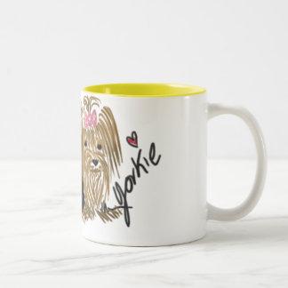 Jag älskar min Yorkie kaffemugg Två-Tonad Mugg