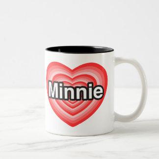 Jag älskar Minnie. Jag älskar dig Minnie. Hjärta Två-Tonad Mugg