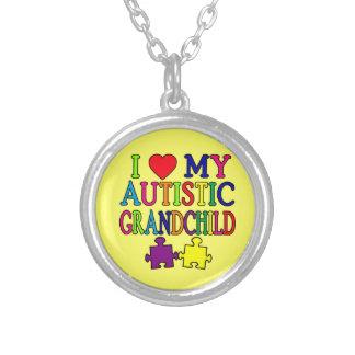 Jag älskar mitt Autistic barnbarn Silverpläterat Halsband
