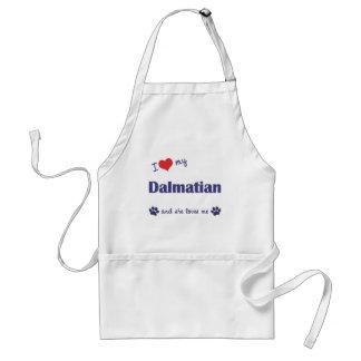 Jag älskar mitt Dalmatian (den kvinnliga hunden) Förkläde