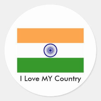 Jag älskar MITT land Indien Runt Klistermärke