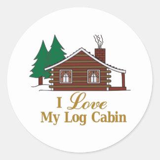 Jag älskar mitt loggar kabinen runt klistermärke