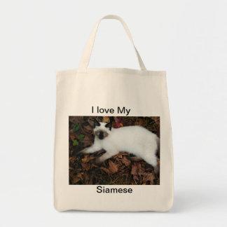 Jag älskar mitt Siamese, (c) organisk toto kgberry Tygkasse