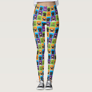 Jag älskar mops som färg kvadrerar lismar, och leggings