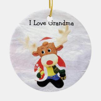 Jag älskar mormor i målat glass julgransprydnad keramik