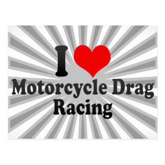 Jag älskar motorcykelfriktionstävla vykort
