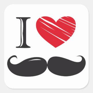 Jag älskar MOUSTACHEN Nr 1 Fyrkantigt Klistermärke