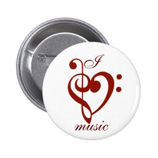 Jag älskar musik klämmer fast standard knapp rund 5.7 cm
