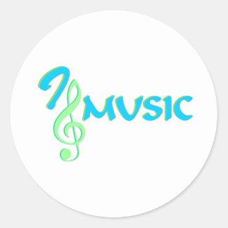 Jag älskar musik runt klistermärke
