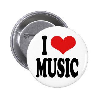 Jag älskar musik standard knapp rund 5.7 cm