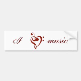 Jag älskar musikbildekalet bildekal
