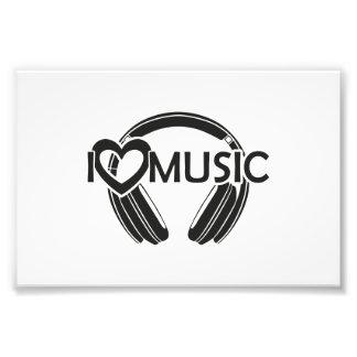 Jag älskar musikhörlurar fototryck