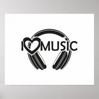 Jag älskar musikhörlurar poster
