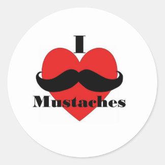 Jag älskar mustascher runt klistermärke