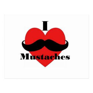 Jag älskar mustascher vykort