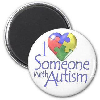 Jag älskar någon med Autism Magnet Rund 5.7 Cm