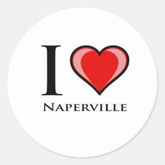 Jag älskar Naperville Runt Klistermärke