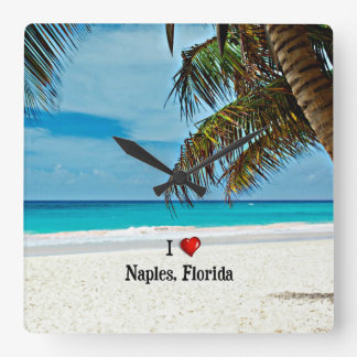 Jag älskar Naples, Florida - dag på stranden Fyrkantig Klocka