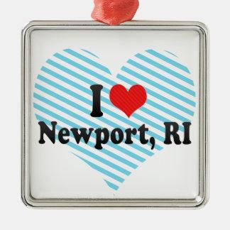 Jag älskar Newport, RI Julgransprydnad Metall