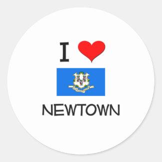 Jag älskar Newtown Connecticut Runt Klistermärke