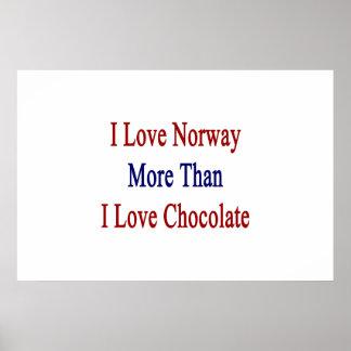 Jag älskar norge mer, än jag älskar choklad affisch