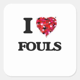 Jag älskar ojust spel fyrkantigt klistermärke