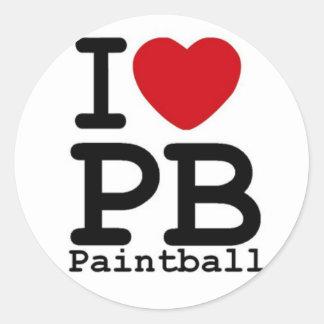 Jag älskar Paintball Runt Klistermärke
