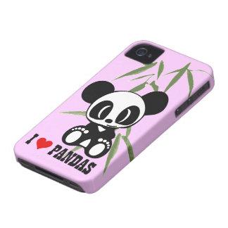 Jag älskar Pandas - rosa bakgrund iPhone 4 Skydd