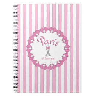 Jag älskar Paris med hjärtor Anteckningsbok Med Spiral