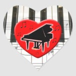 Jag älskar pianot hjärtformade klistermärken