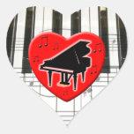 Jag älskar pianot hjärtformat klistermärke