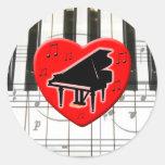 Jag älskar pianot rund klistermärke