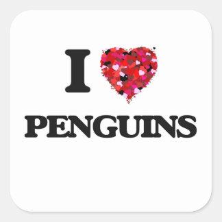 Jag älskar pingvin fyrkantigt klistermärke