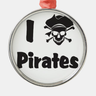 Jag älskar pirater julgransprydnad metall