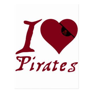 Jag älskar pirater vykort