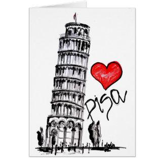 Jag älskar Pisa Hälsningskort