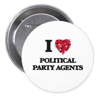 Jag älskar politiskt partiagenter mellanstor knapp rund 7.6 cm