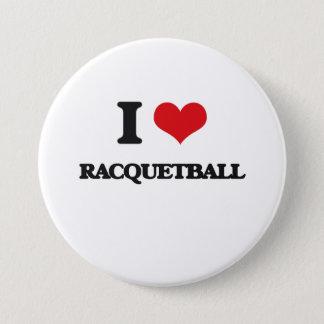 Jag älskar Racquetball Mellanstor Knapp Rund 7.6 Cm