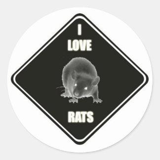 Jag älskar råttor runt klistermärke