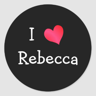 Jag älskar Rebecca Runt Klistermärke