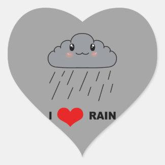 Jag älskar regnar hjärtformat klistermärke