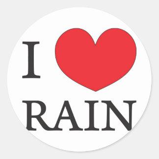 jag älskar regnar runt klistermärke