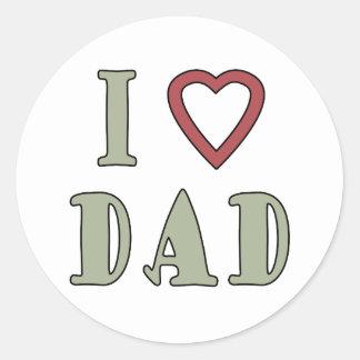 Jag älskar röd hjärta för pappan runt klistermärke