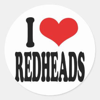 Jag älskar rödhårig runt klistermärke